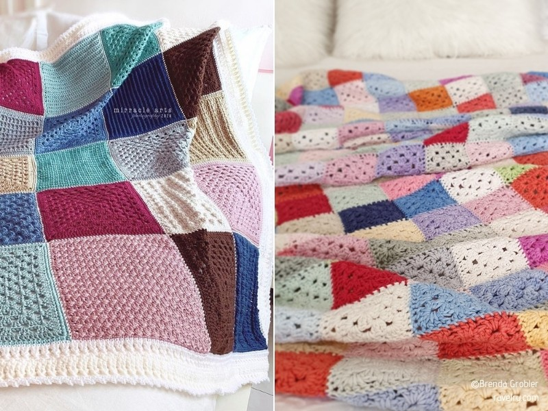 Patchwork Crochet Blankets with Free Patterns