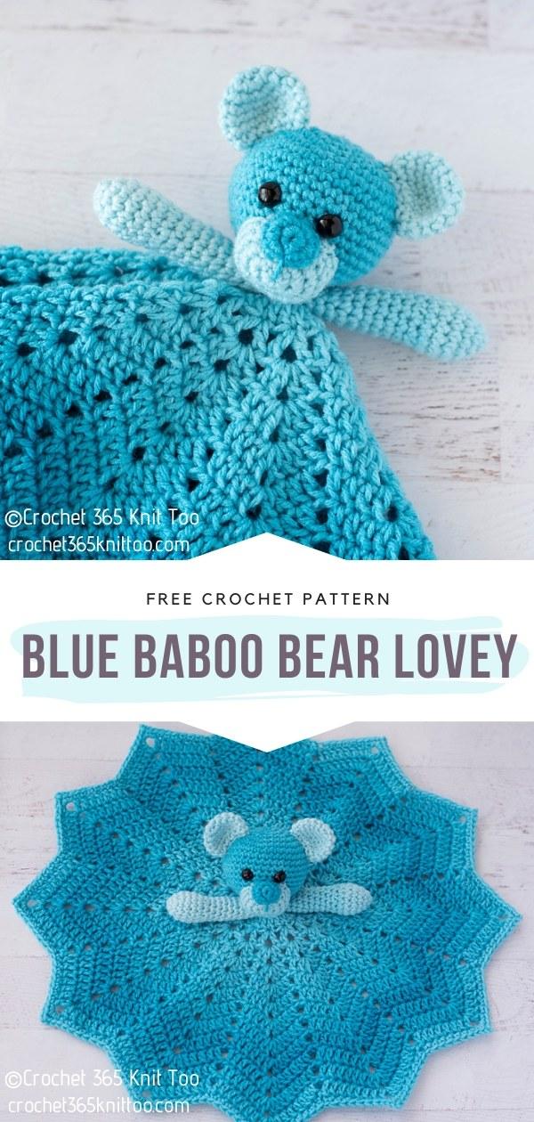 Blue Baboo Crochet Bear Lovey