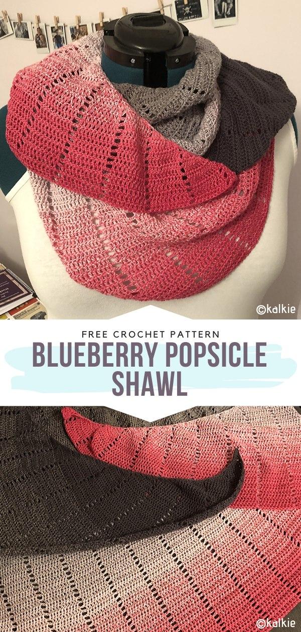 Blueberry Popsicle shawl Free Crochet Pattern