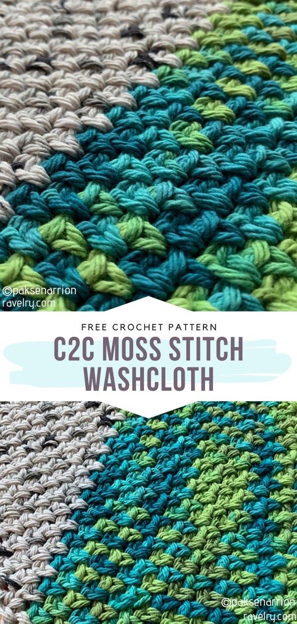 C2C Moss Stitch Crochet Washcloth
