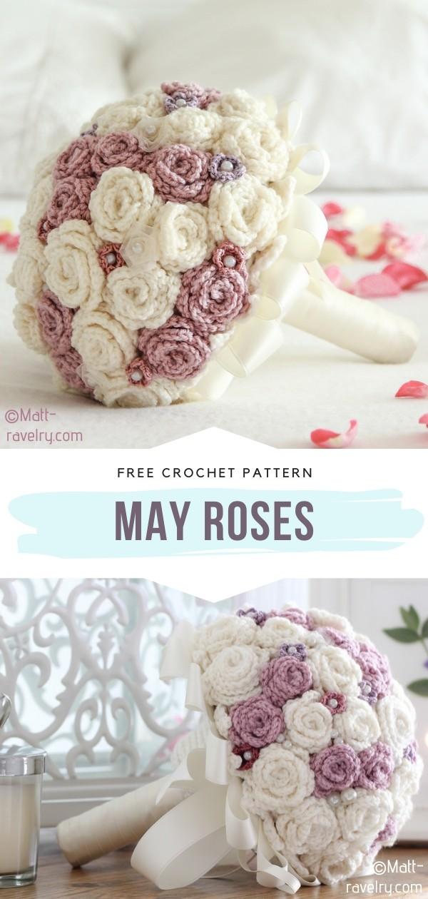 May Roses Crochet Wedding Buquet