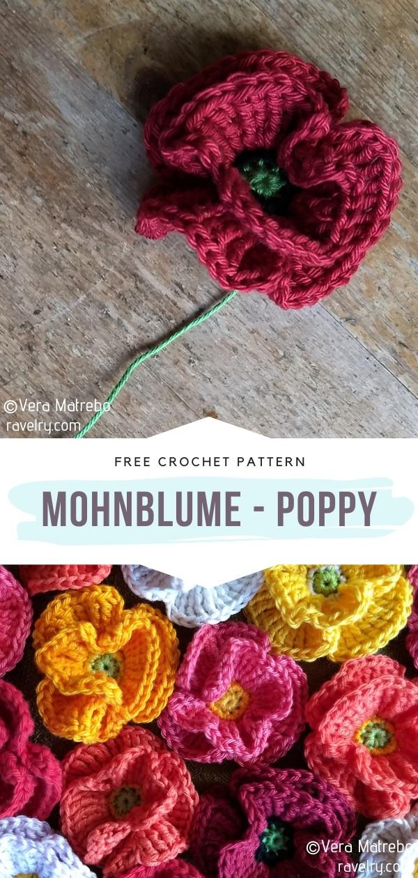 Mohnblume - Poppy Crochet Flower