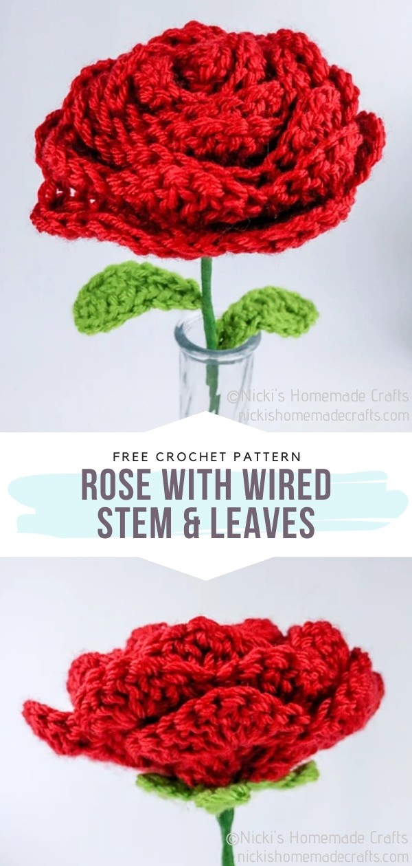 Crochet Rose with wired Stem & Leaves