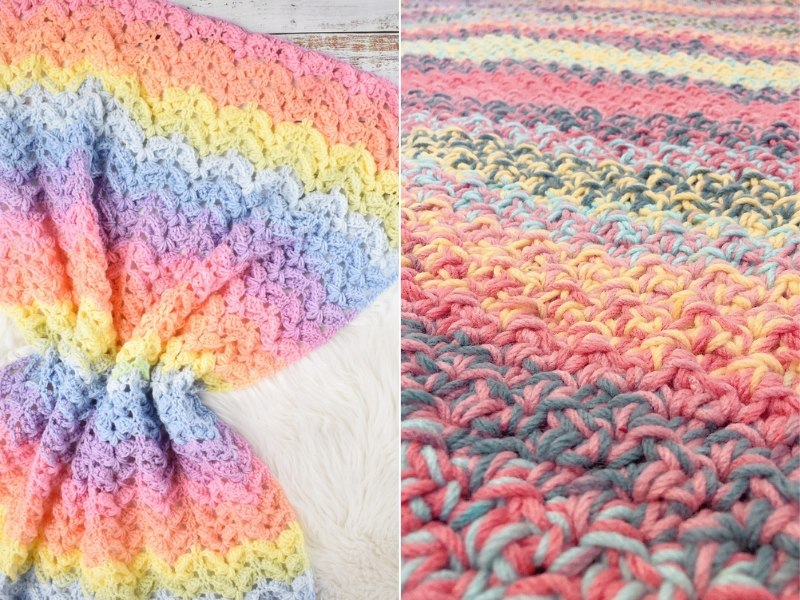 Stripes and Rainbows Blankets Free Crochet Patterns