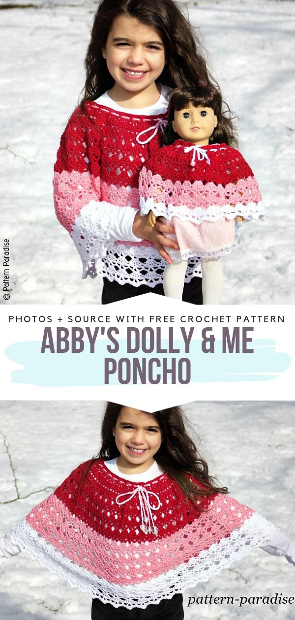 Abby's Dolly & Me Poncho Free Crochet Pattern