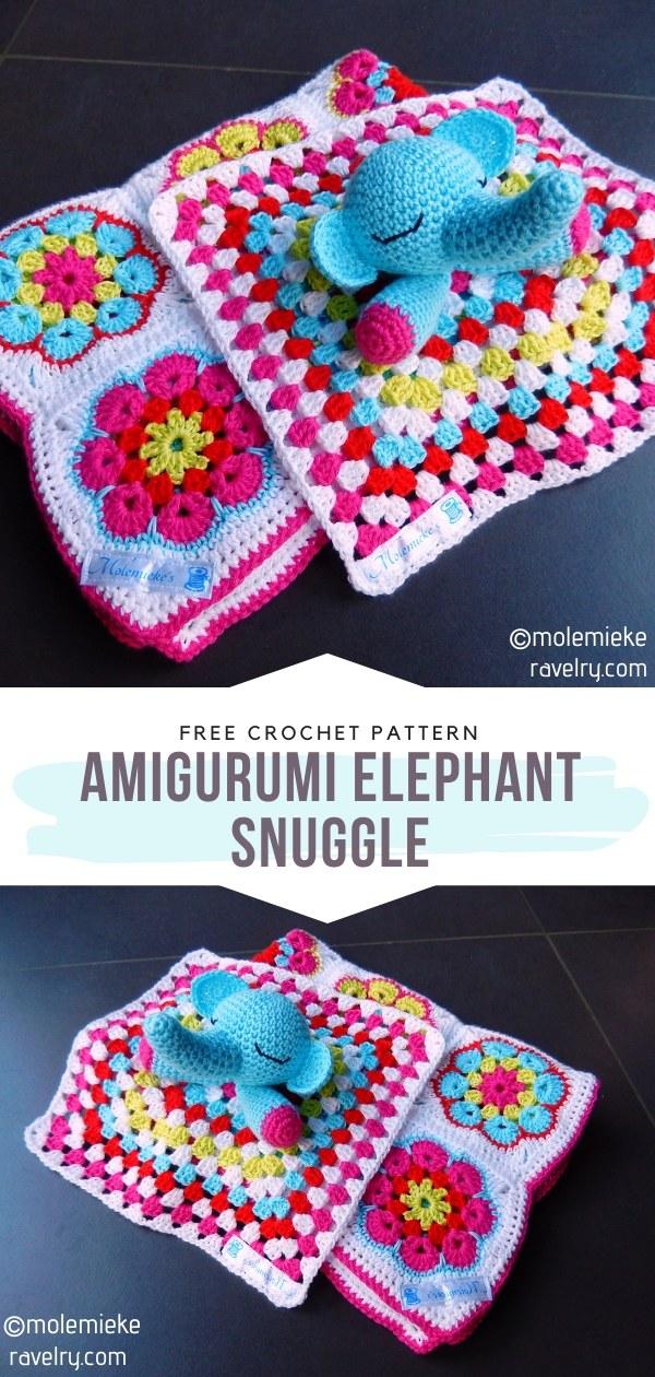 amigurumi elephant snuggle crochet lovey