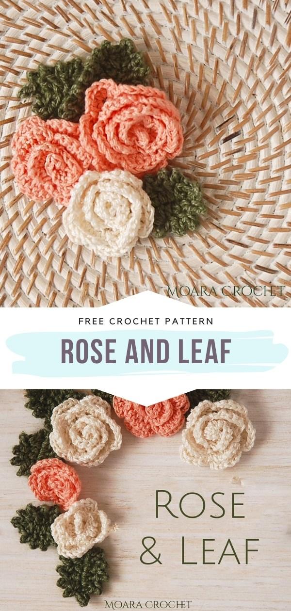 Crochet Rose and Leaf