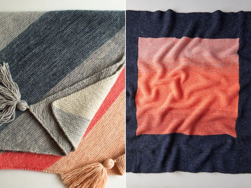 Contrasts! Knitted Blanket Ideas Free Patterns