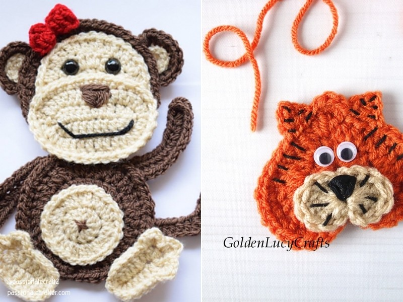 Fun Animal Appliques with Free Crochet Patterns
