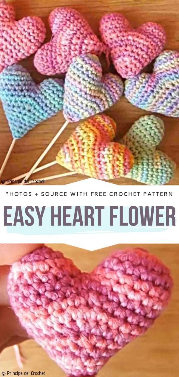 Easy Heart FlowerFree Crochet Pattern