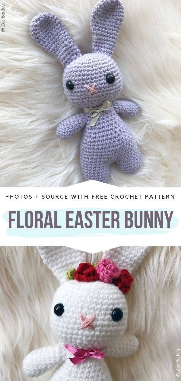 Floral Easter Bunny Free Crochet Pattern