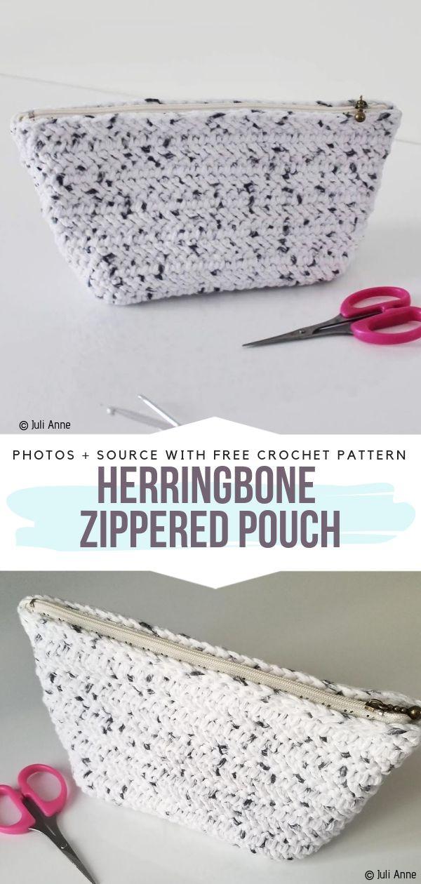 Herringbone Zippered Pouch
