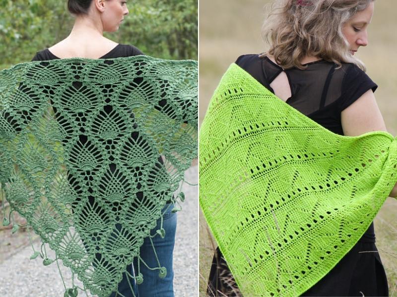 Hues of Green Crochet Shawls Free Patterns