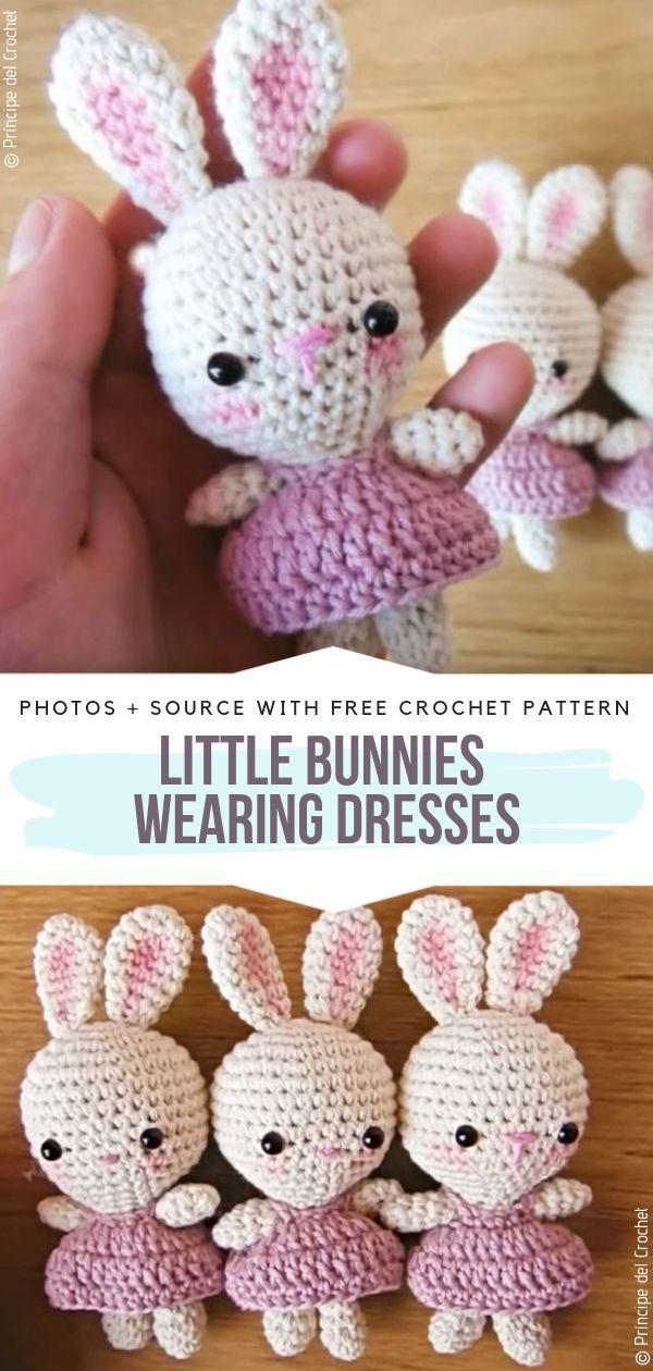 Little Bunnies Wearing Dresses Free Crochet Pattern