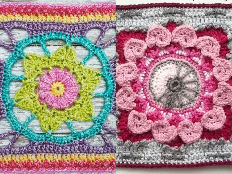 Lovely Flower Squares Free Crochet Patterns
