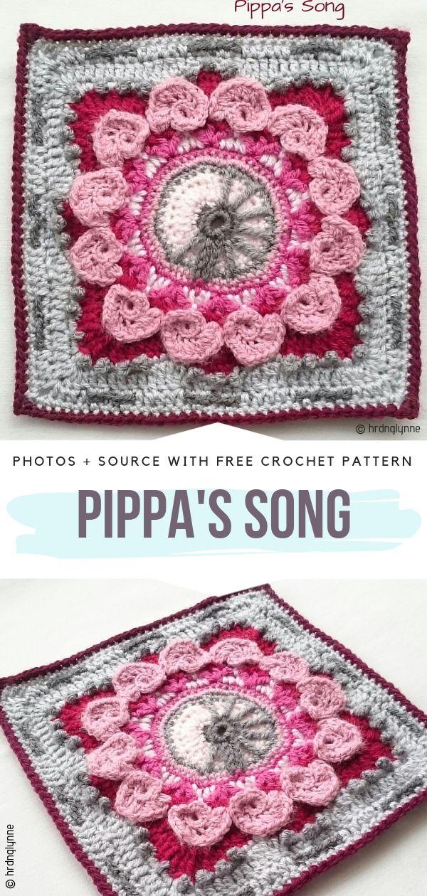 Flower Square Pippa's SongFree Crochet Pattern