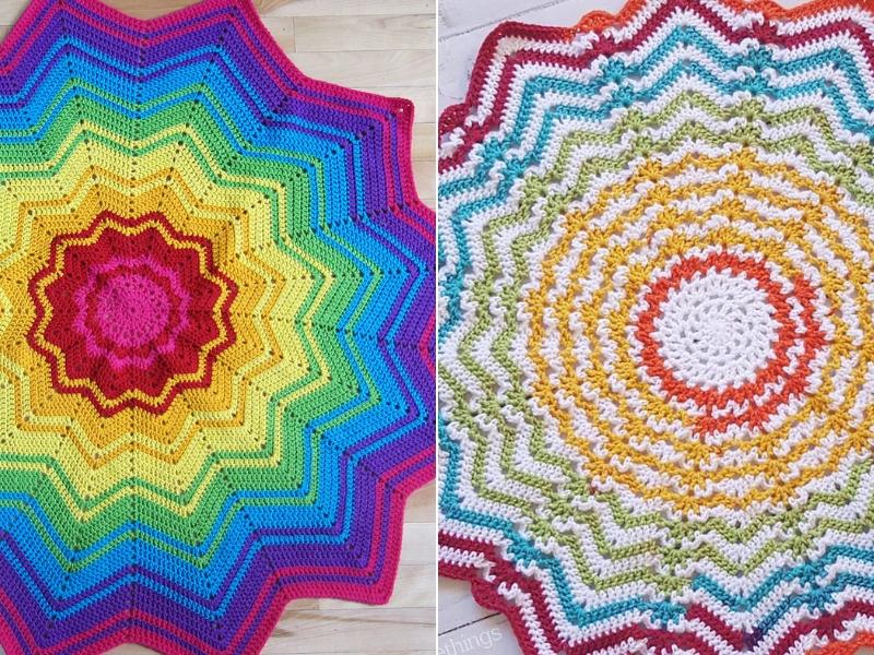 Round Ripple Blankets Free Crochet Patterns
