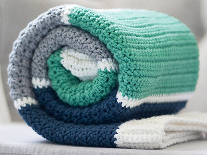 Stripey Crochet Baby Blankets Free Patterns