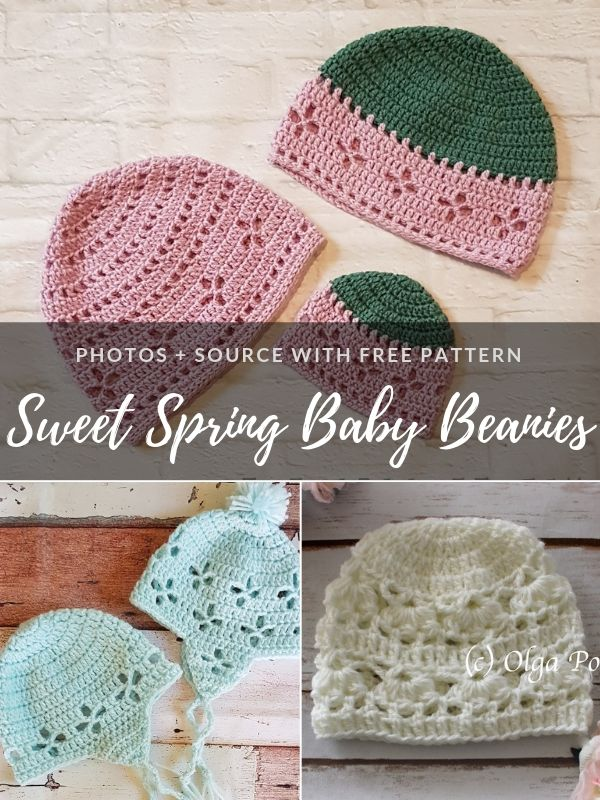 Sweet Spring Baby Beanies Free Crochet Patterns