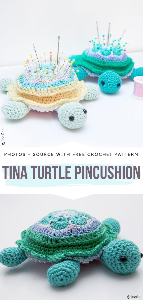 Tina Turtle Pincushion Free Crochet Pattern