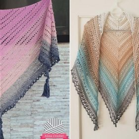 Gradient Colorway Shawls with Free Crochet Patterns