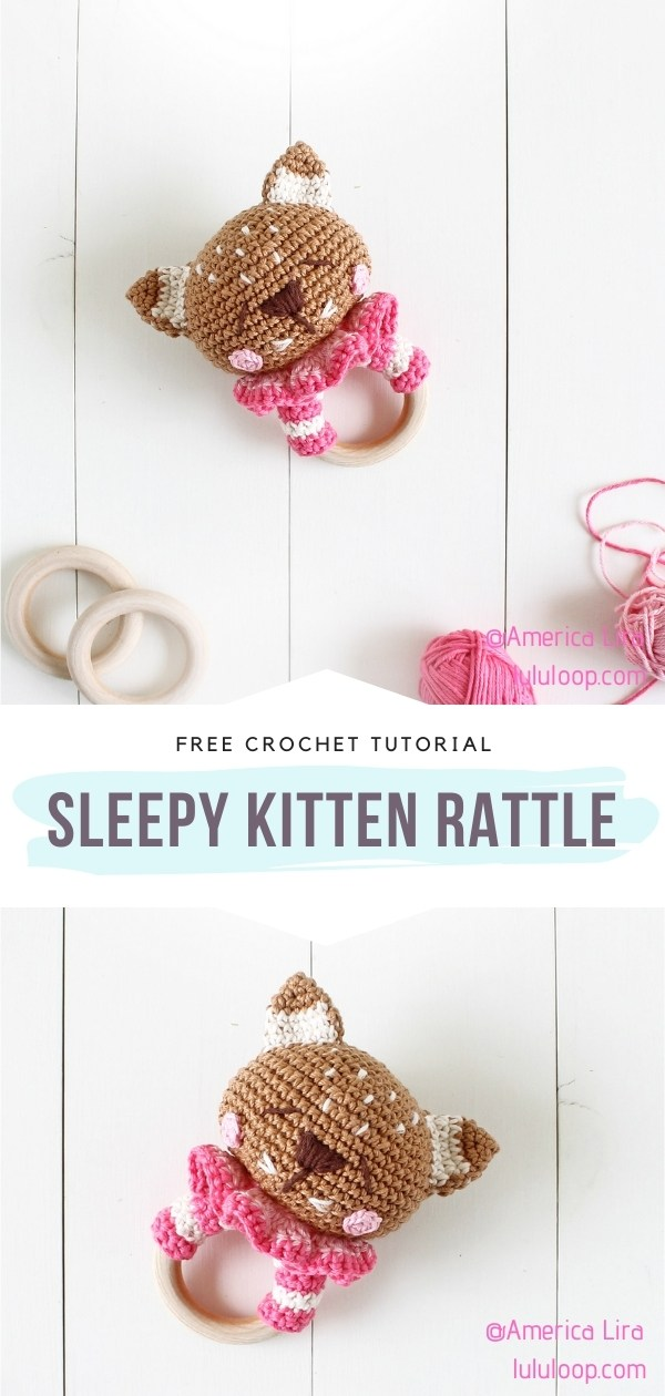 Crocheted Kitten Rattle