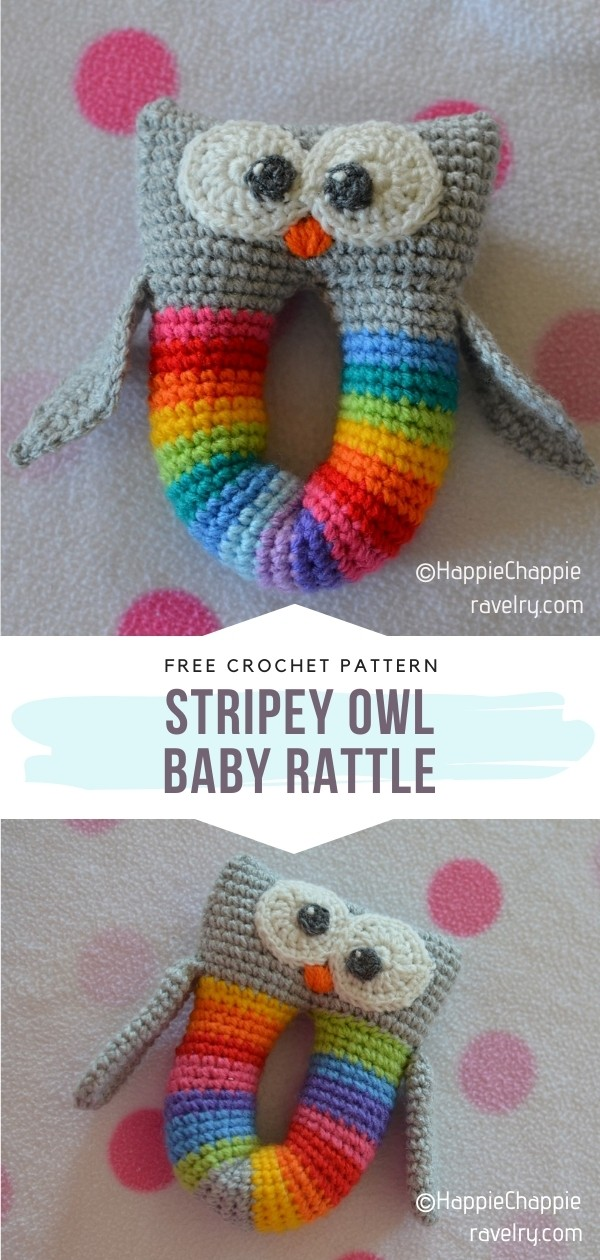 Crocheted Owl Baby Rattle