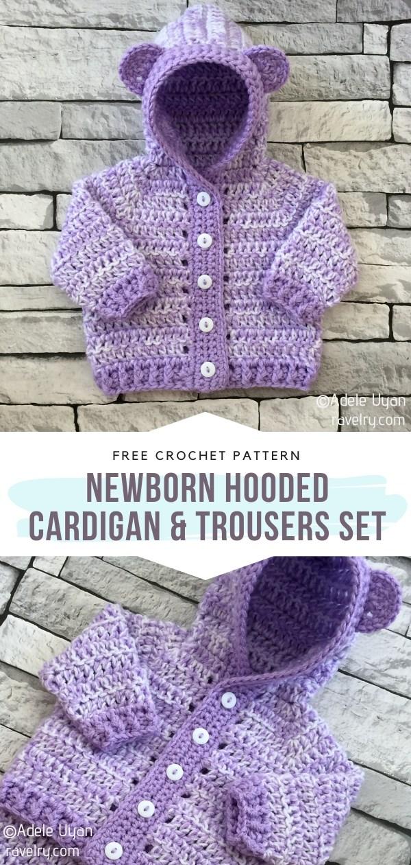 Hooded Cardigan & Trousers Crochet Set