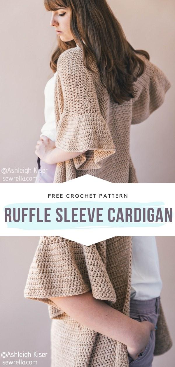 Ruffle Sleeve Crochet Cardigan
