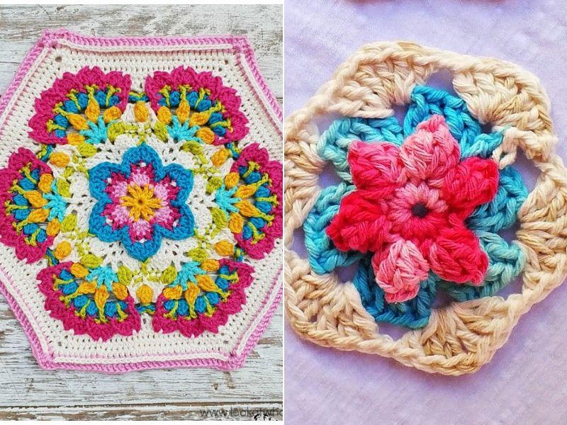 Beautiful Flower Hexagons Free Crochet Patterns