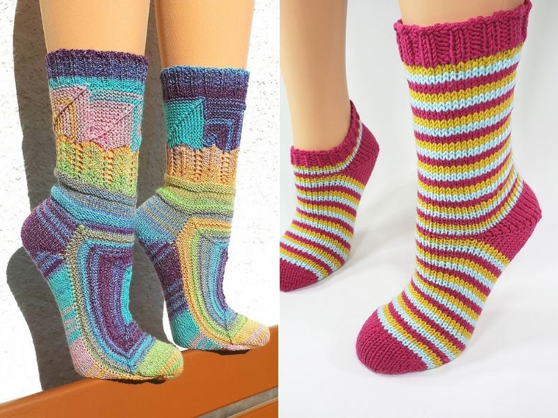 Colorful Knitted Socks Free Patterns