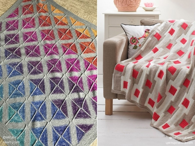 Colorful Squares Blankets with Free Knitting Patterns