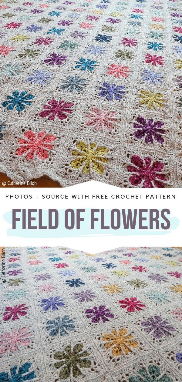 Beautiful Blanket Field of Flowers Free Crochet Pattern