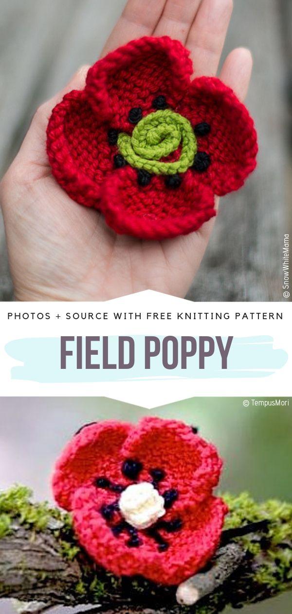 Knitted Poppy Flower Ideas Free Patterns