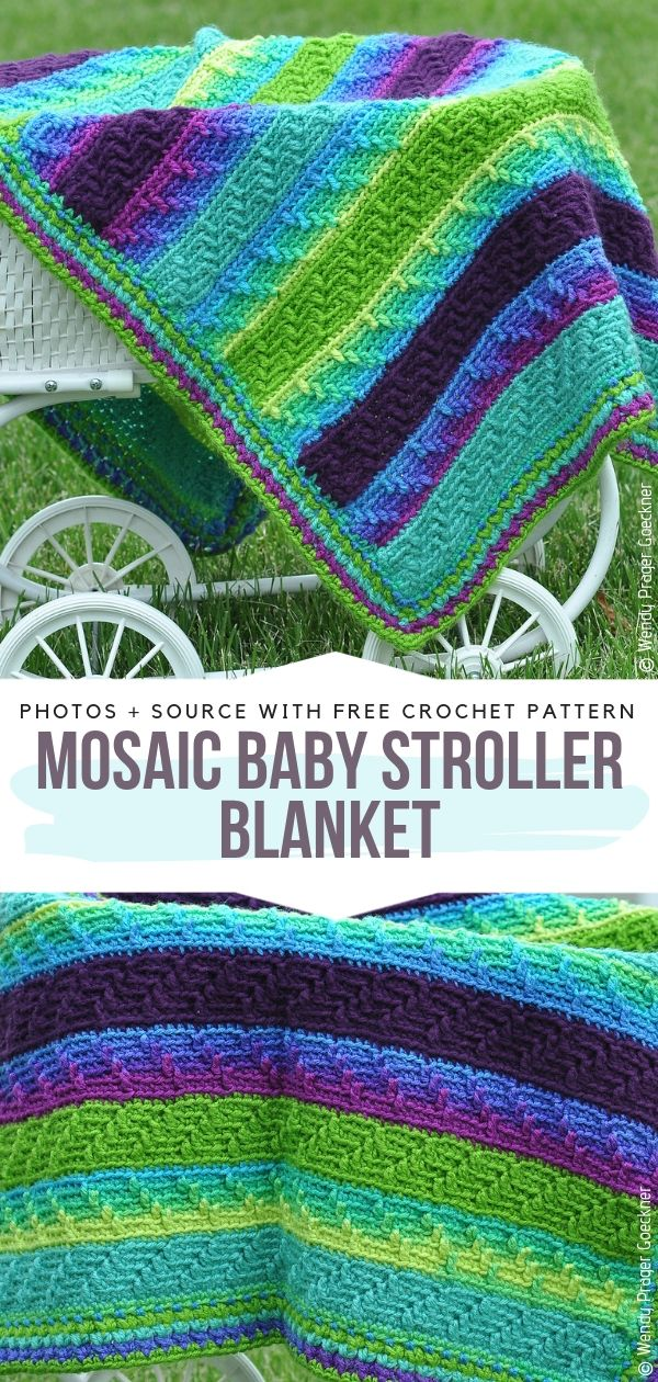 Mosaic Baby Stroller Blanket