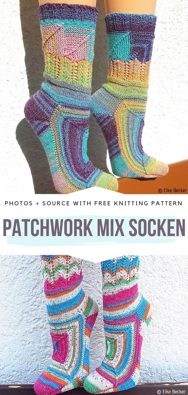 Patchwork Mix Socken Free Knitting Pattern