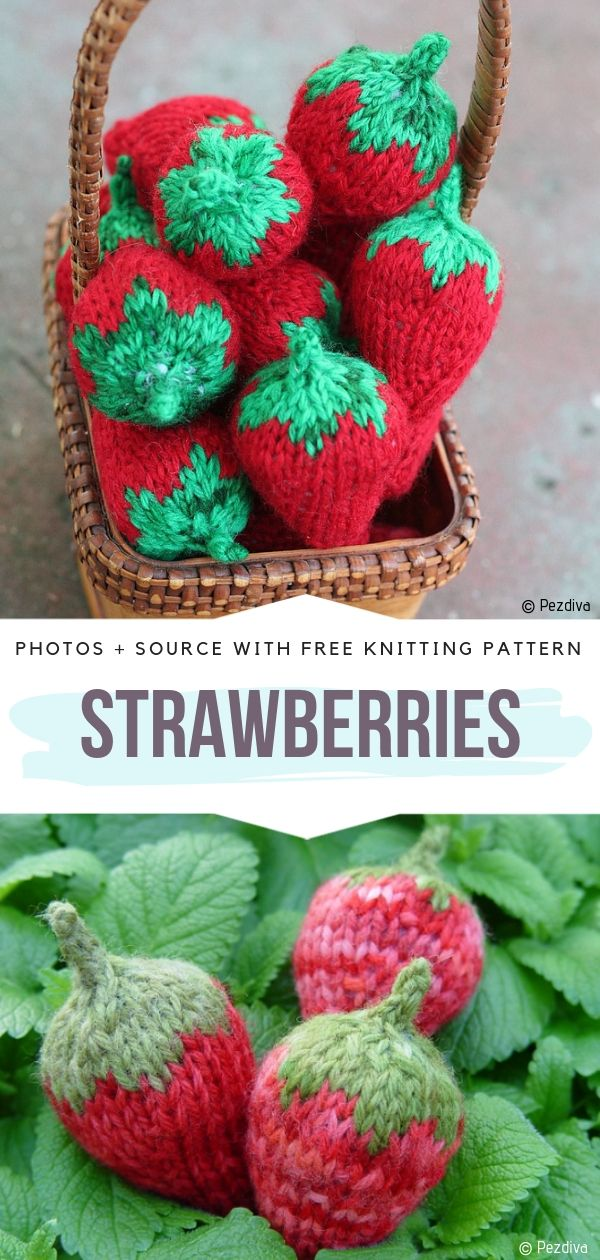 Strawberries Free Knitting Pattern