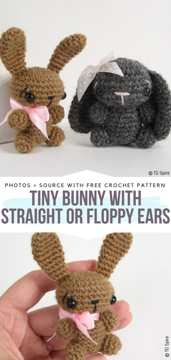 Tiny Bunny with Straight or Floppy Ears Free Crochet Pattern