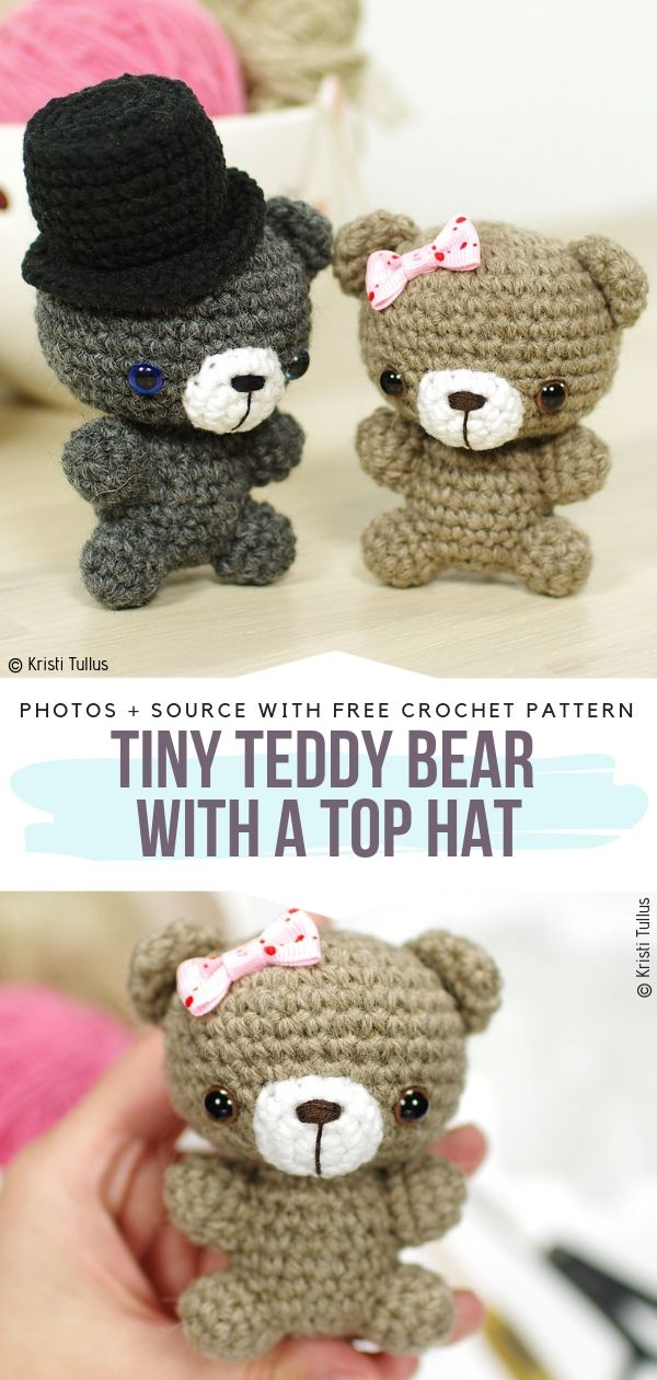 Tiny Teddy Bear with a Top Hat Free Crochet Pattern