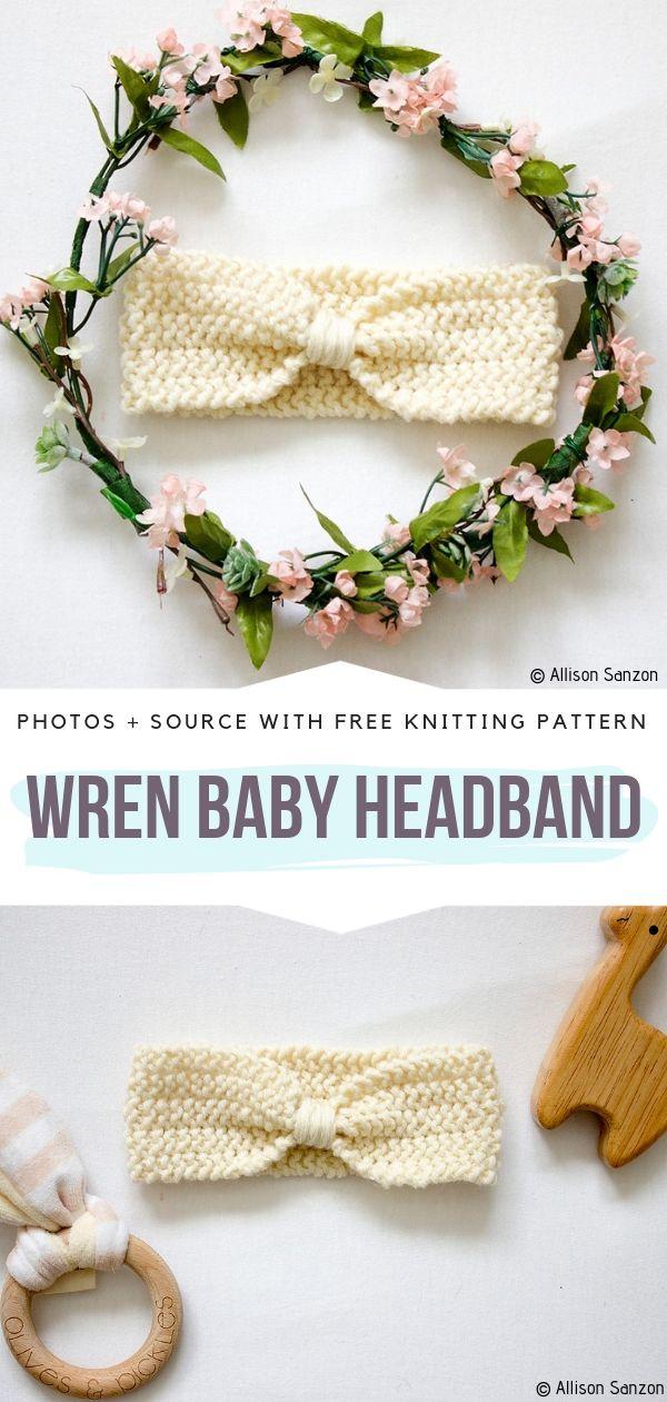 Wren Baby Headband Free Knitting Pattern