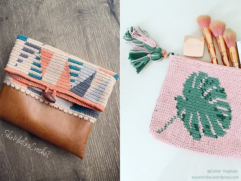 Tapestry Crochet Pouches with Free Patterns