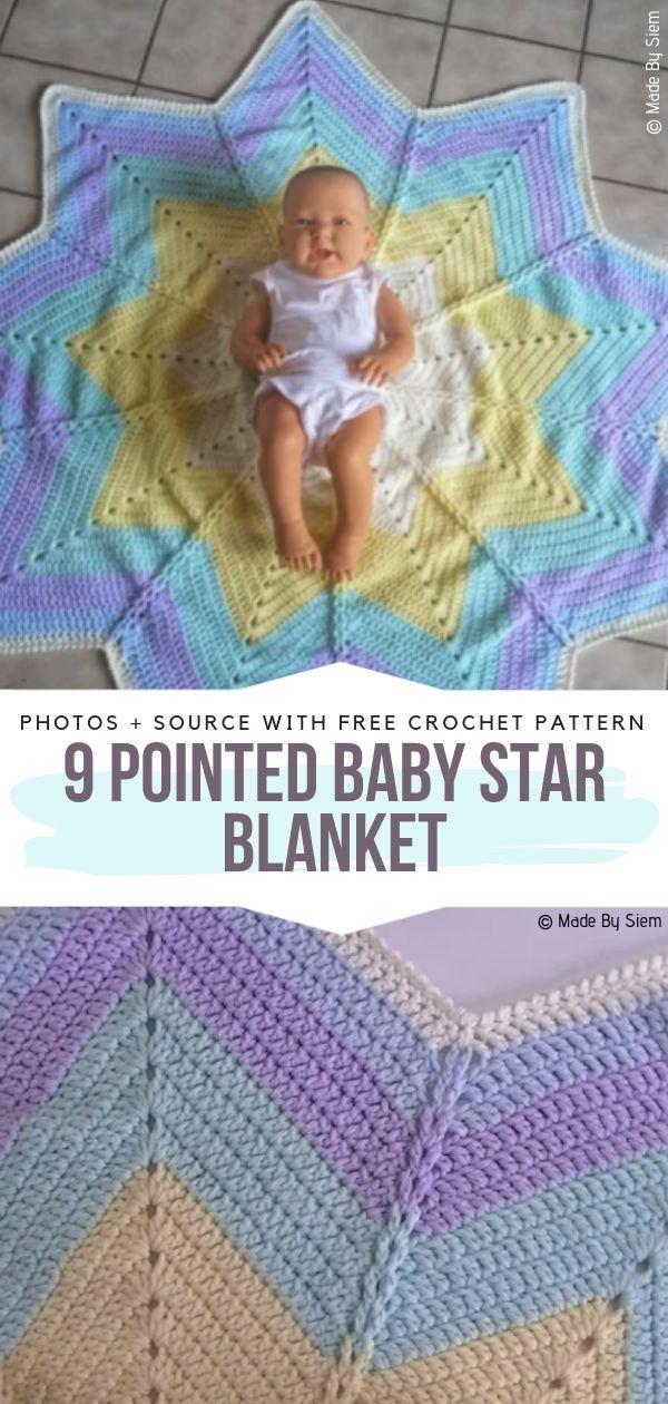 9 Pointed Baby Star Blanket Free Crochet Pattern