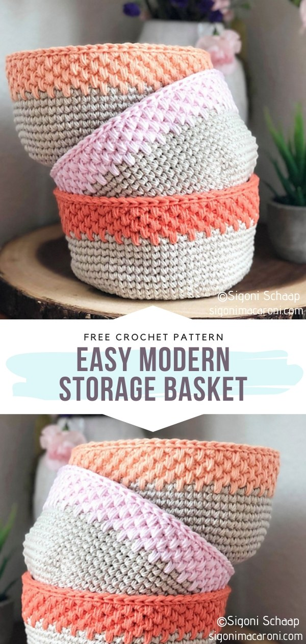 Easy Modern Storage Crochet Basket