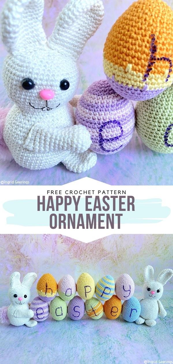 Happy Easter ornament Free Crochet Pattern