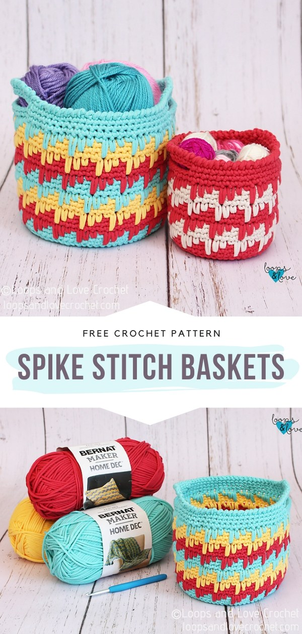Spike Stitch Crochet Baskets