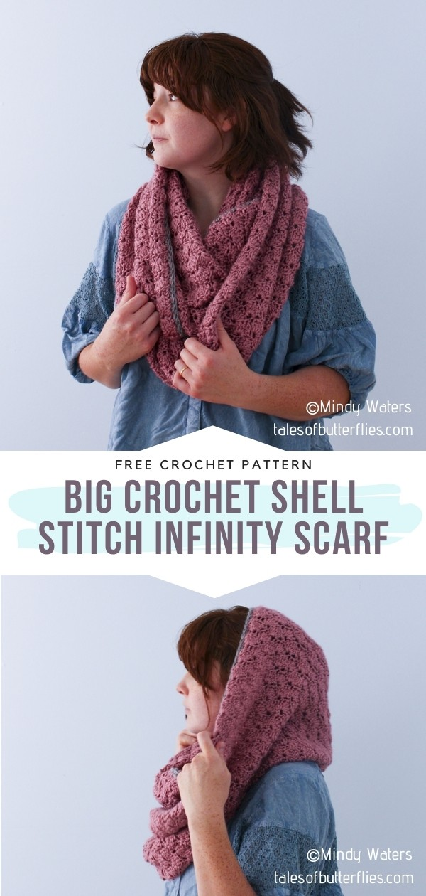 Crochet Shell Stitch Infinity scarf