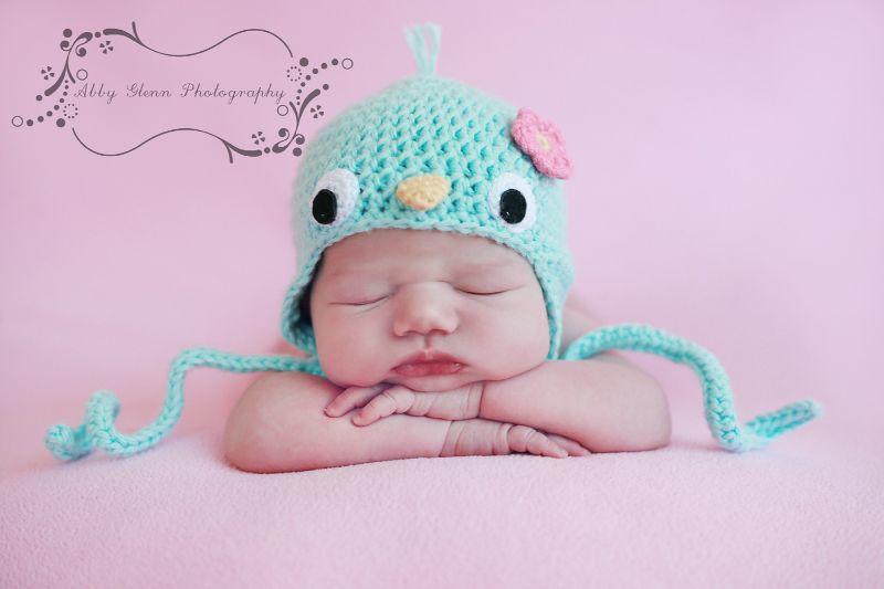 Adorable Baby Bluebird Earflap Hat with Flower Crochet Pattern