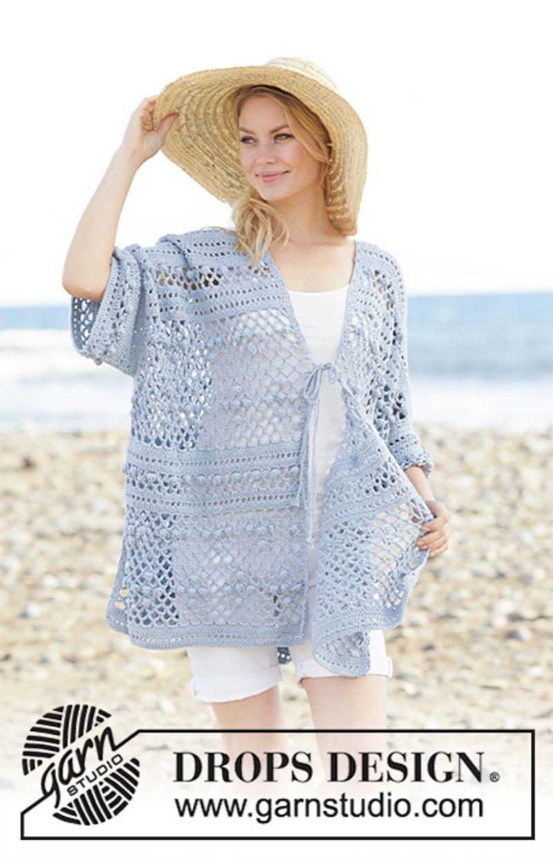 Blue Crocheted Cardigan