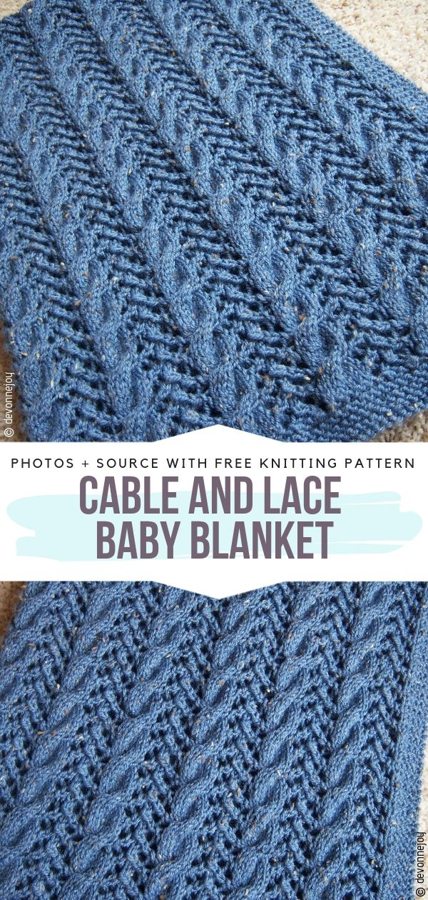 Cable and Lace Baby Blanket Free Knitting Pattern