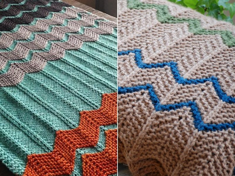 Chevron Knitted Afghans Free Patterns